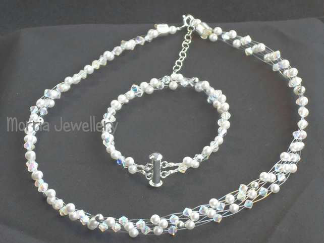 Melanie - Crystal and White Pearl Choker and Bracelet Set