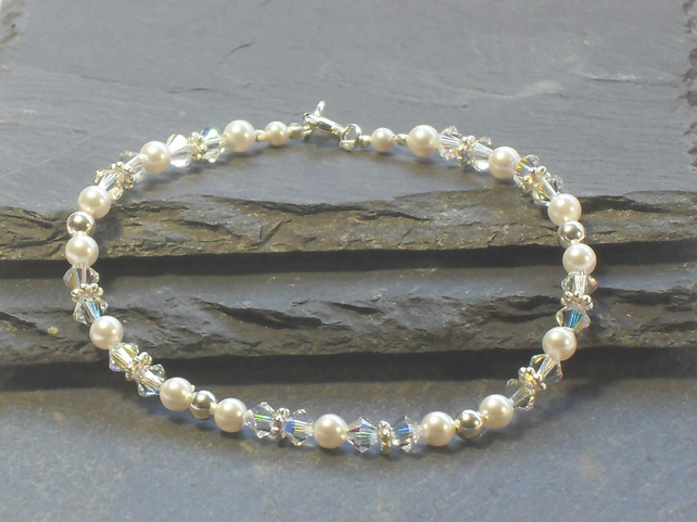 Natalie Bracelet - White Pearl, Sterling Silver and Crystal