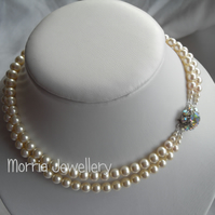 2 Row, Vintage Style, Cream Pearl Necklace