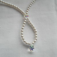Pearl with Teardrop Crystal Drop Necklace