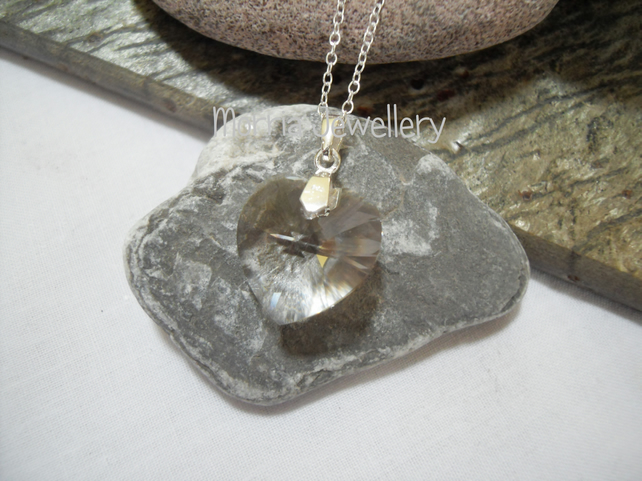 Swarovski crystal heart pendant on sterling silver chain