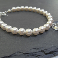 White Pearl and Crystal Heart Bracelet