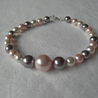 White, Pink, Mauve Bracelet with Clasp Fastening