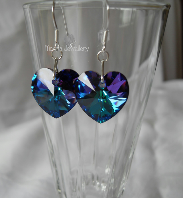 Heliotrope Swarovski Crystal Heart Earrings