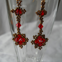 Red and Bronze Dangle Earrings