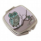 Compact Mirror for pocket or handbag, gift for owl and nature lovers. M17