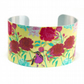Cuff bracelet, aluminium bangle in Summer colours, flowers and birds C130