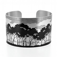 Tree cuff bracelet, woodland jewellery, brushed silver metal bangle. C207