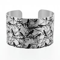 Bird cuff bracelet, brushed silver wide jewellery bangle with black birds. C204