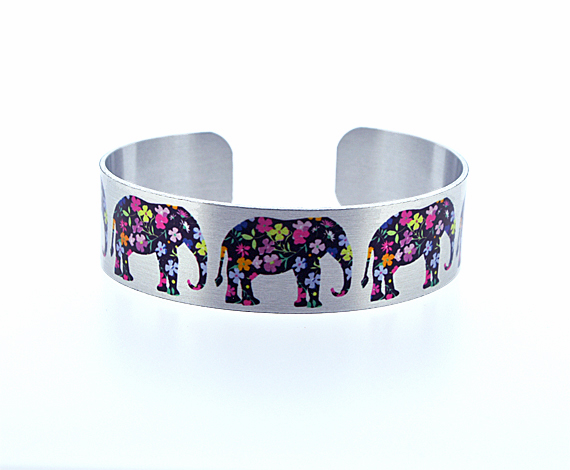 Elephant jewellery, cuff bracelet in brushed silver, Elephant gifs. B116