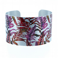 SALE, Cuff bracelet, wide metal bangle with ferns in magenta purple. C243