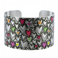 Hearts jewellery cuff bracelet, brushed silver wide metal bangle.  C271
