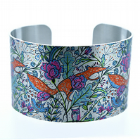 Fox jewellery cuff bracelet, brushed silver metal bangle woodland animals. C191