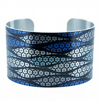 Artistic jewellery cuff bracelet, blue and brushed silver wide metal bangle.C280