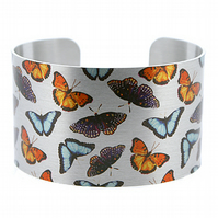 Butterfly cuff bracelet, brushed silver wide metal bangle with butterflies. C274