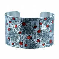 Ladybird jewellery cuff bracelet, brushed silver aluminium with insects. C307