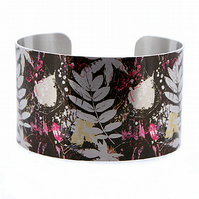 Leaf jewellery cuff bracelet, brushed silver wide metal bangle in brown. C324
