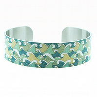 Ocean jewellery bracelet, narrow metal cuff with sea green waves and surf. B127