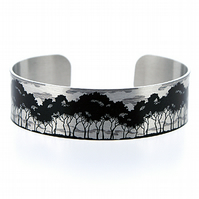 Tree jewellery bracelet, monochrome brushed silver narrow metal cuff. B133