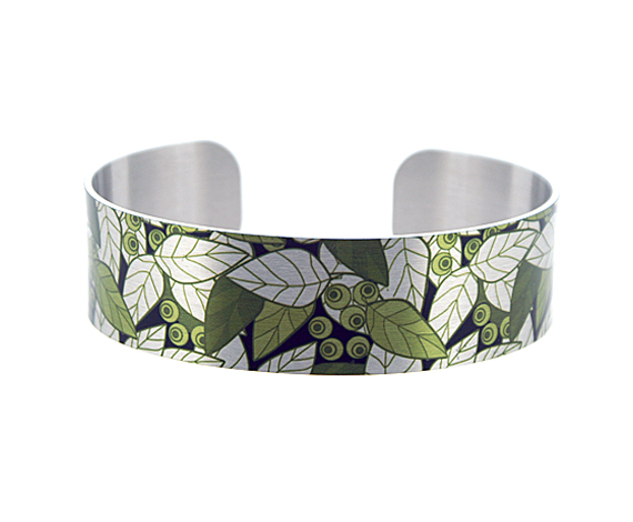 Brushed silver narrow metal cuff bracelet with sage green, olive leaves. B356