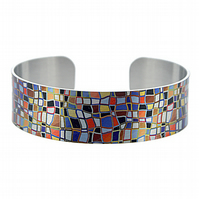 Artistic jewellery, brushed silver cuff bracelet with mosaic design. B245