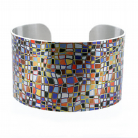 Artistic jewellery cuff bracelet with multicoloured mosaic design. C245