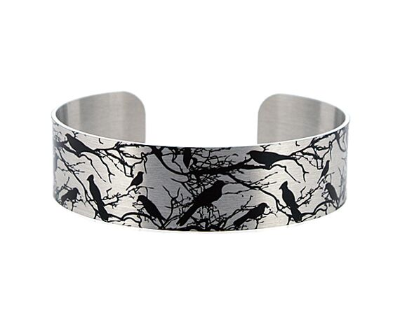 Bird jewellery, brushed silver cuff bracelet with birds in branches. B204