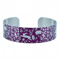 Woodland animals cuff bracelet, purple & brushed silver hares, hedgehogs . B381