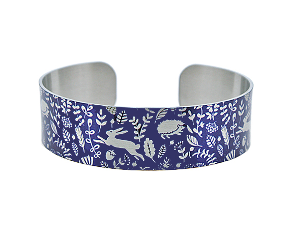 Woodland animals cuff bracelet, blue & brushed silver hares, hedgehogs . B380