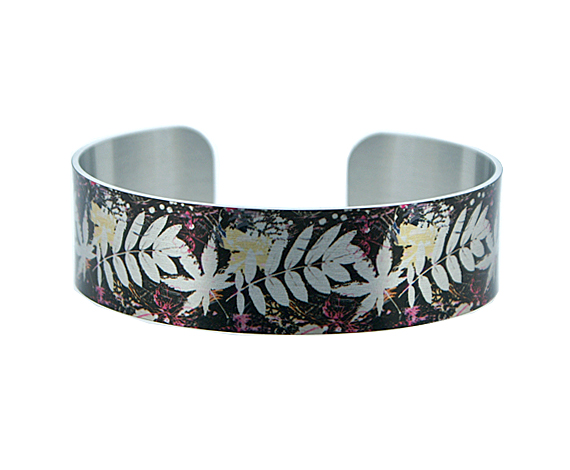 Brushed silver narrow metal cuff bracelet in brown, ferns and leaves. B324