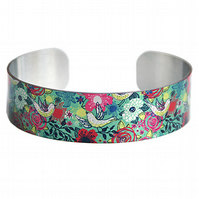 Bird jewellery cuff bracelet brushed silver and teal with doves, flowers. B327