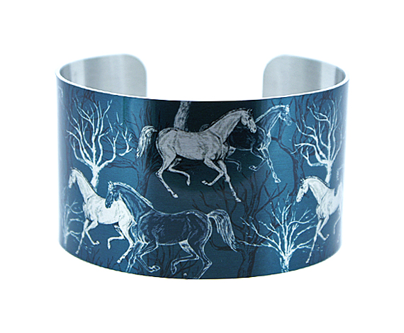 Horse jewellery cuff bracelet, slate blue metal bangle, horse lover gift. C383