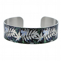Brushed silver narrow metal cuff bracelet in blue, ferns and leaves. B342
