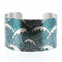 Ocean jewellery cuff bracelet brushed silver with turquoise sea waves surf. C332