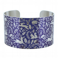 Woodland animals cuff bracelet, blue & brushed silver hares, hedgehogs. C380