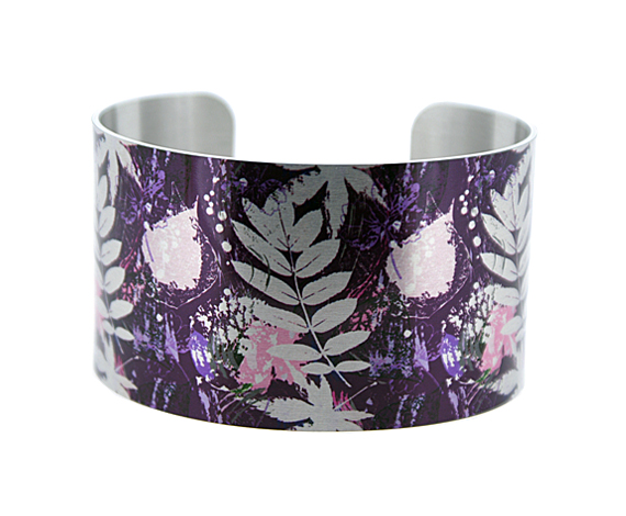 Leaf jewellery cuff bracelet, brushed silver wide metal bangle in purple. C369