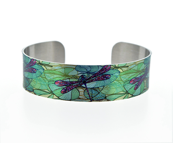Dragonfly cuff bracelet, teal green nature jewellery with dragonflies. Gift. C42