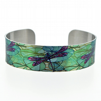 Dragonfly cuff bracelet, personalised teal green nature jewellery. B101