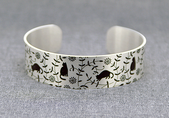 Cat jewellery cuff bracelet, brushed silver with black cats or kittens. B426
