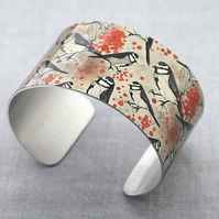 Bird jewellery cuff bracelet, wide metal bangle in beige with birds. C123