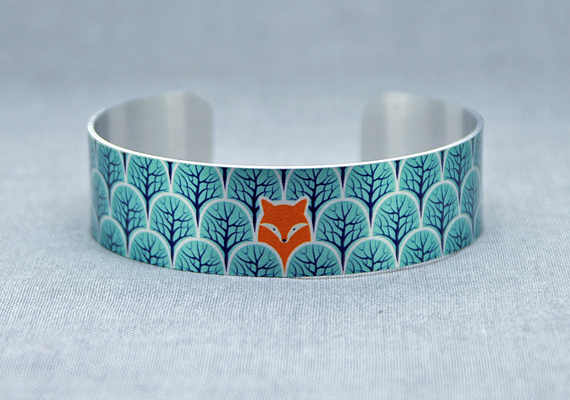Fox jewellery cuff bracelet, brushed silver metal bangle, fox lover gift. B471