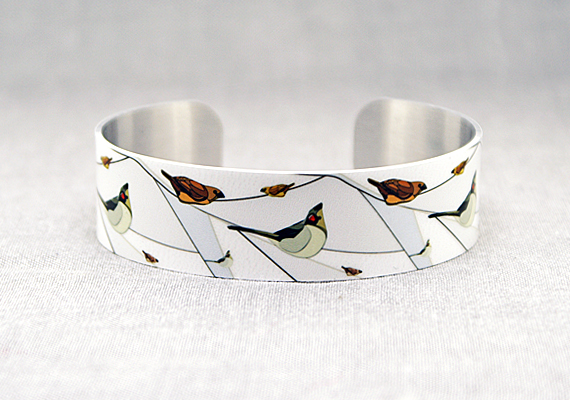 Bird cuff bracelet, white grey jewellery bangle with birds, bird  gifts. B166
