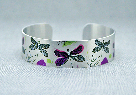 Dragonfly cuff bracelet, brushed silver nature jewellery with dragonflies. B421