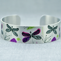 Dragonfly cuff bracelet, brushed silver nature jewellery with dragonflies. C421
