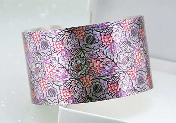 Floral cuff bracelet, jewellery bangle with pretty pink and purple flowers. C389
