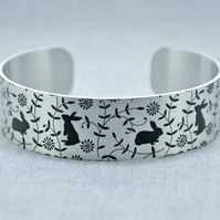 Rabbit jewellery cuff bracelet, brushed silver with rabbits, bunny gifts. B472