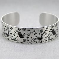 Owl cuff bracelet, wildlife jewellery with owls, owl gifts. B478