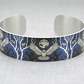 Owl cuff bracelet, blue purple jewellery bangle with owls, owl gifts. B436