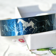 Horse cuff bracelet, metal bangle, equestrian jewellery, horse gifts. B383