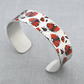 Cuff bracelet with red poppies, metal bangle, Poppy jewellery, Poppy gifts. B333